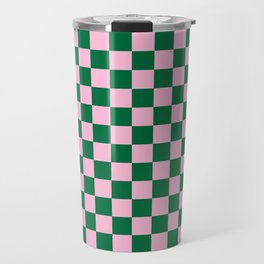 Cotton Candy Pink and Cadmium Green Checkerboard Travel Mug