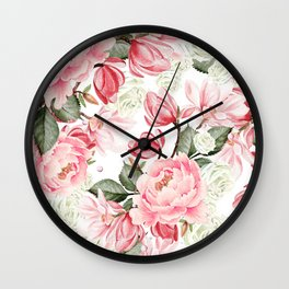 Floral Kingdom Watercolor Painting Pink Red Peony Flowers Painting Green Leaves Floral Design Wall Clock