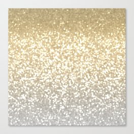 Gold and Silver Glitter Ombre Canvas Print
