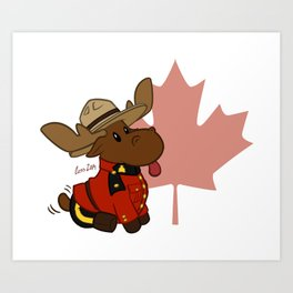 Mountie Moose Version 1 Art Print