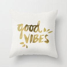 Good Vibes – Gold Ink Throw Pillow