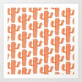 Mid Century Modern Desert Cactus Pattern 827 Orange Art Print