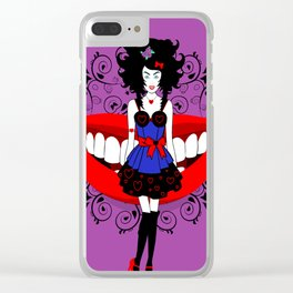 Uptight Alice playing Queen of hearts Clear iPhone Case