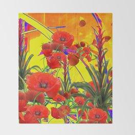MODERN TROPICAL FLOWERS GARDEN DESIGN IN YELLOW-ORANGE COLORS Throw Blanket