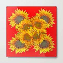 Red Design of Yellow Sunflowers Art Metal Print