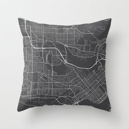 Burnaby Map, Canada - Gray Throw Pillow