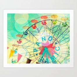 Panoramic carnival ferris wheel Art Print