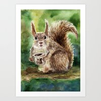 squirrel Art Prints featuring Squirrel by Anna Shell