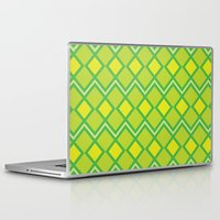 lime green Laptop & iPad Skins featuring Green Lime Square Pattern by FlowerPot