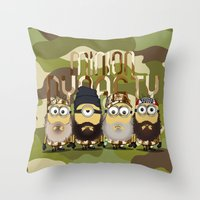 minions Throw Pillows featuring Minions Mashup Duck Dinasty by Akyanyme