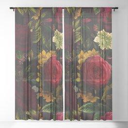 Dutch Midnight Vintage Red Roses Garden Sheer Curtain