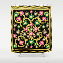 Fashion Pattern with Golden Chains and Jewelry Shower Curtain