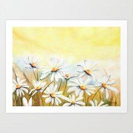 Daisies Watercolor Art Print
