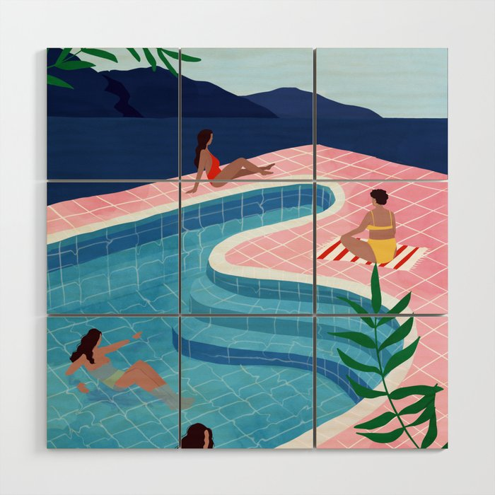 Pool ladies Wood Wall Art
