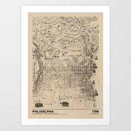 Philadelphia 1796 - Old  Vintage USA Map Art Print