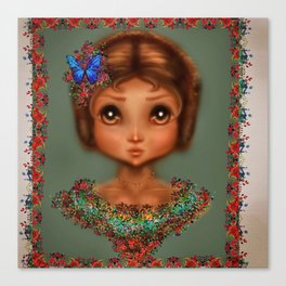Anime Girl Blue Butterfly and Flower Dress Canvas Print