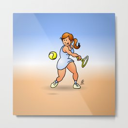 Tennis girl hitting a backhand Metal Print
