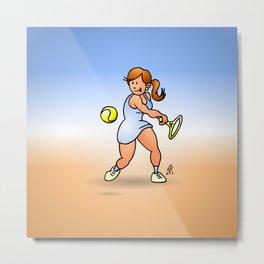 Tennis girl hitting a backhand Metal Print