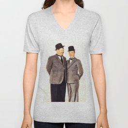 Laurel and Hardy Unisex V-Neck