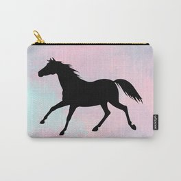 Running Horse Silhouette on Watercolor background Carry-All Pouch