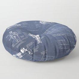 Apollo 11 Saturn V Command Module Blueprint in High Resolution (dark blue) Floor Pillow