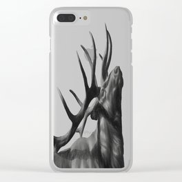Elk in Black in White Clear iPhone Case