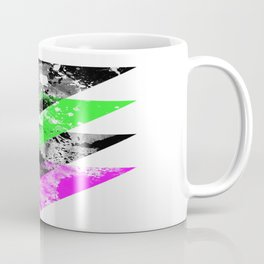 Descent - Geometric Abstract In Black, Green And Pink Coffee Mug