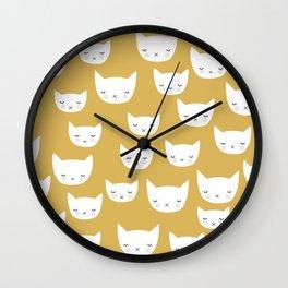 Sweet sleepy kitty cats kawaii baby animals kids pattern Wall Clock