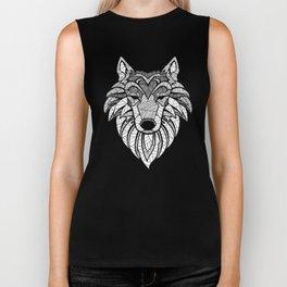 Wolf Head Line Art (on white) Biker Tank
