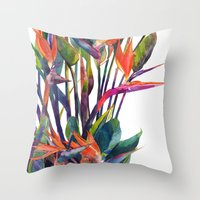 Throw Pillows featuring The bird of paradise by takmaj
