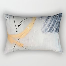 Midnight Time Lapse: a minimal, abstract mixed-media piece by Alyssa Hamilton Art in Gold, Black Rectangular Pillow