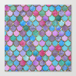 Colorful Gold Mermaid Scales Canvas Print