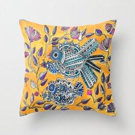 Madhubani - Blue Yellow Bird Throw Pillow