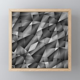 Exclusive monochrome pattern of chaotic black and white fragments of glass, metal and ice floes. Framed Mini Art Print