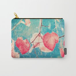 Autumn Hea(u)rts - Textured photography, pinks leafs in blue sky  Carry-All Pouch