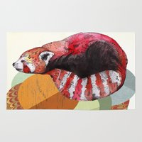 red panda Area & Throw Rugs featuring Red Panda by Sandra Dieckmann