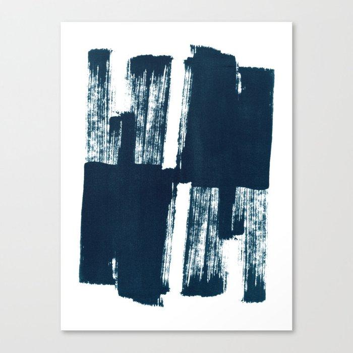 Abstract Brush Stroke Shape in Dark Blue Ink Canvas Print