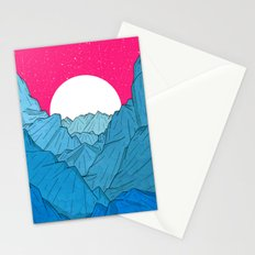 The moon over the mountains Stationery Cards