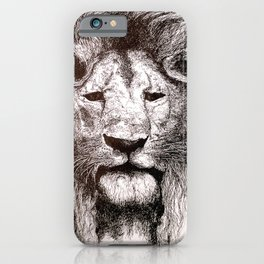 Lion Drawing Illustration Ink Black and White iPhone Case