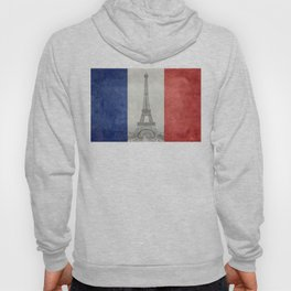 Flag of France with Eiffel Tower Vintage style Hoody