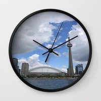 toronto Wall Clocks featuring Toronto by Rose&BumbleBee
