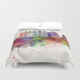 Atlanta V2 skyline in watercolor background Duvet Cover