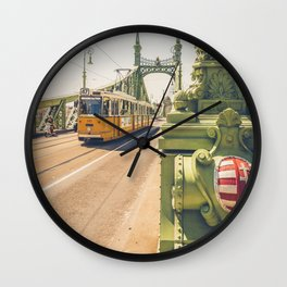 Tram on the the bridge of Liberty Budapest Hungary Szabadság híd Wall Clock