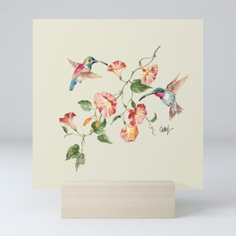 hummingbirds & morning glories Mini Art Print