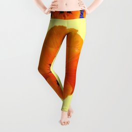This design is all about the ORANGE PANSIES ON YELLOW COLOR DESIGN ART decor, furnishings, or for th Leggings