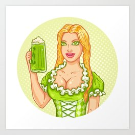 Girl with beer Art Print