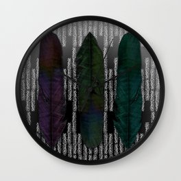 Feathers at dusk Wall Clock