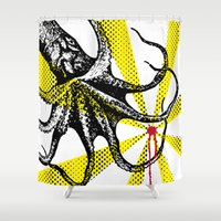 kraken Shower Curtains featuring Kraken Up by Ben Stevens
