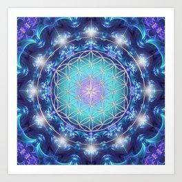 Flower Of Life Mandala Fractal turquoise Art Print