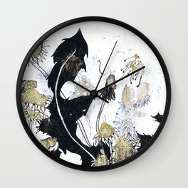 Gold Dandelions Wall Clock